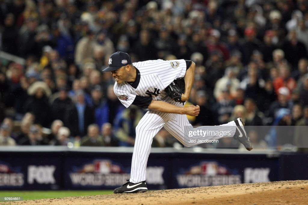 <a gi-track='captionPersonalityLinkClicked' href=/galleries/search?phrase=Mariano+Rivera&family=editorial&specificpeople=201607 ng-click='$event.stopPropagation()'>Mariano Rivera</a> #42 of the New York Yankees throws a pitch against the Philadelphia Phillies in Game Six of the 2009 MLB World Series at Yankee Stadium on November 4, 2009 in the Bronx borough of New York City. The Yankees won 7-3 to win the series 4 games to 2.