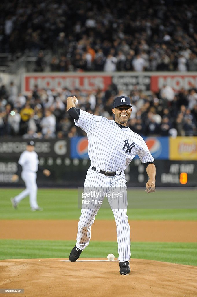 Mariano Rivera #42 of the New York Yankees throws out the ceremonial first pitch before game 3 of the ALDS against the Baltimore Orioles on Wednesday, October 10, 2012 at Yankee Stadium, in the Bronx borough of New York City.