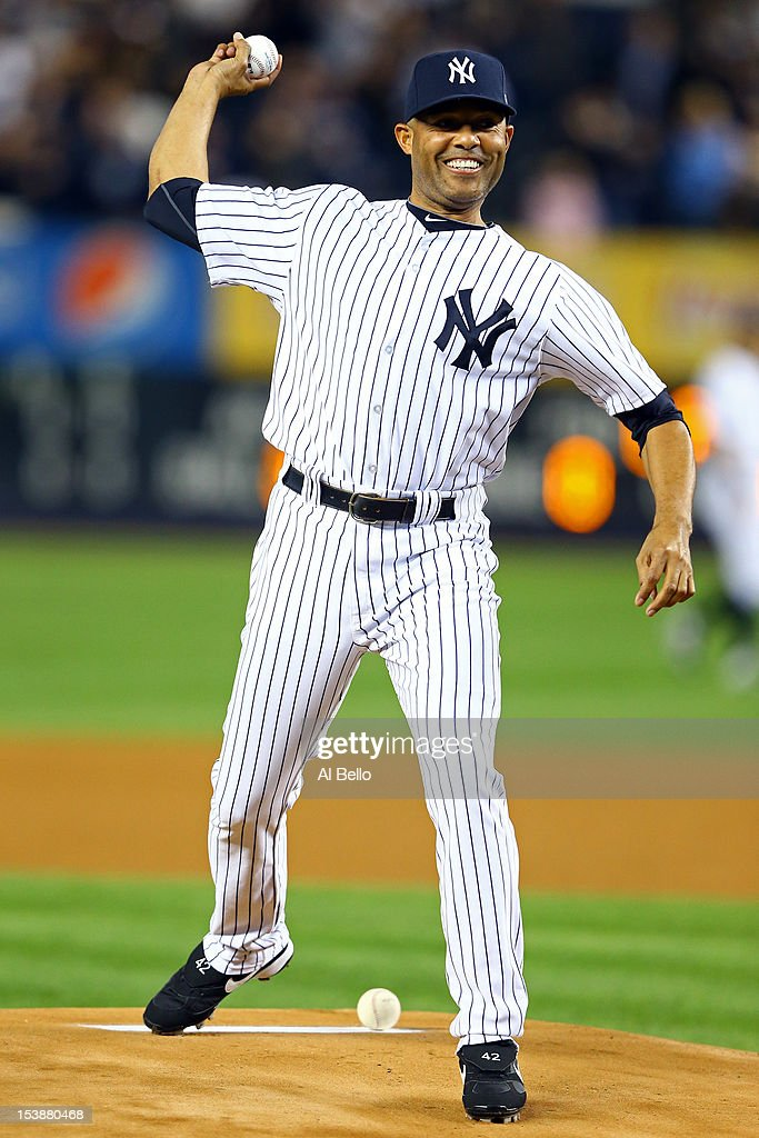 Mariano Rivera of the New York Yankees throws out the first pitch prior to Game Three of the American League Division Series against the Baltimore Orioles at Yankee Stadium on October 10, 2012 in the Bronx borough of New York City.