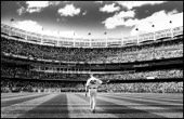 Mariano Rivera of the New York Yankees walks out of the bullpen before the game against the San Francisco Giants during interleague play on September...