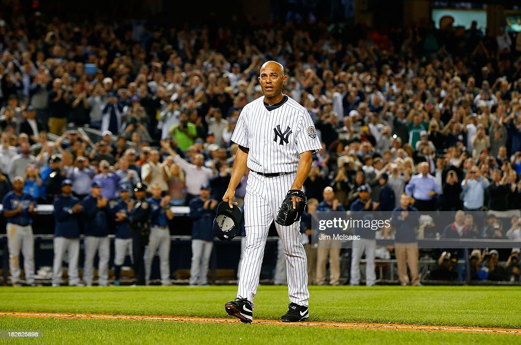 Mariano Rivera #42 of the New York Yankees walks to the dugout after leaving a game against the Tampa Bay Rays in the ninth inning at Yankee Stadium on September 26, 2013 in the Bronx borough of New York City. The Rays defeated the Yankees 4-0.