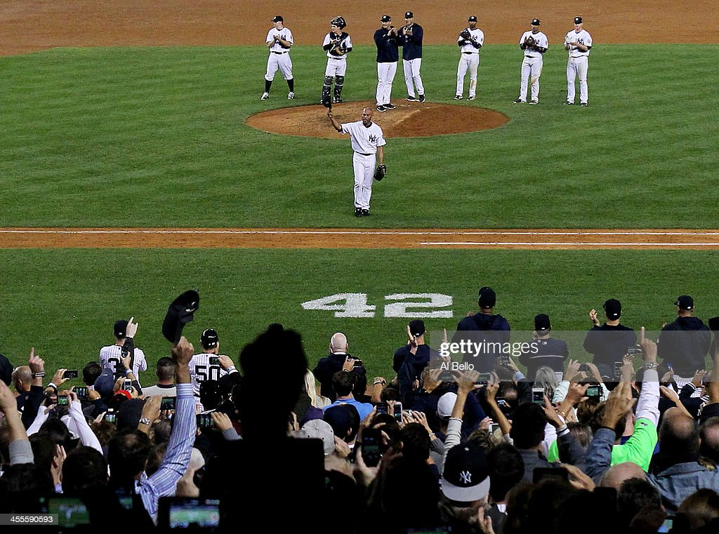 <a gi-track='captionPersonalityLinkClicked' href=/galleries/search?phrase=Mariano+Rivera&family=editorial&specificpeople=201607 ng-click='$event.stopPropagation()'>Mariano Rivera</a> #42 of the New York Yankees waves to the crowd after leaving the game against the Tampa Bay Rays in the ninth inning during their game on September 26, 2013 at Yankee Stadium in the Bronx borough of New York City.