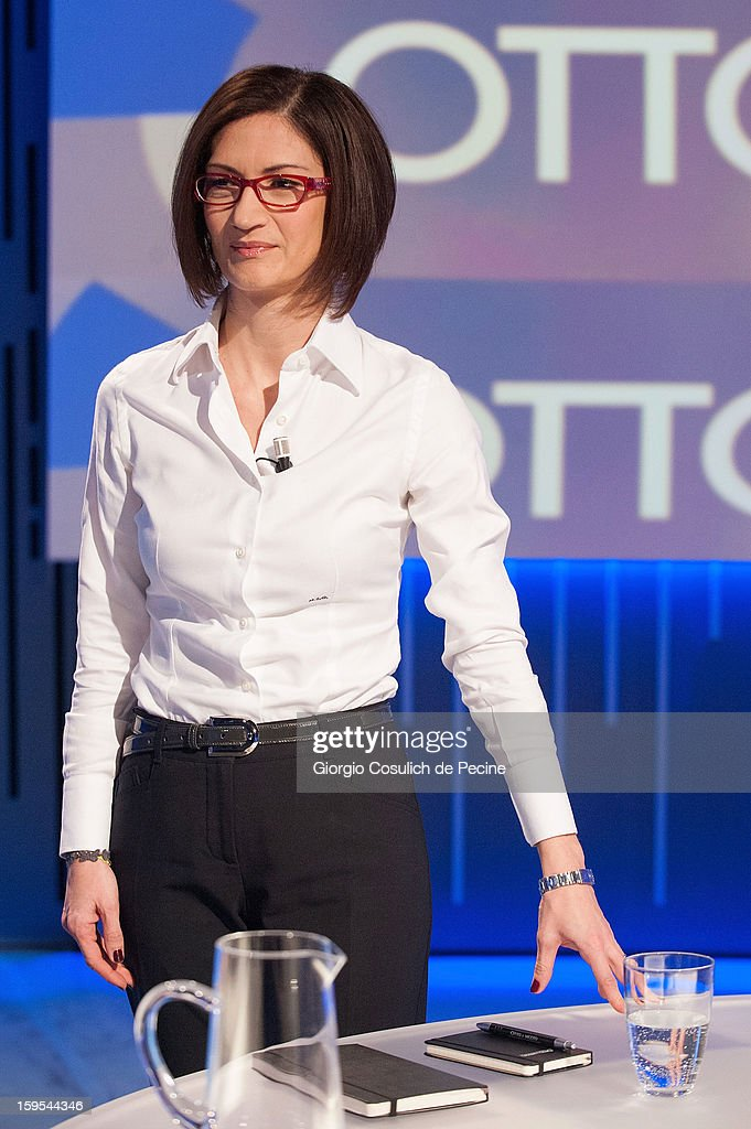 Mariastella Gelmini attends 'Otto e Mezzo' Italian TV Show on January 15, 2013 in Rome, Italy.