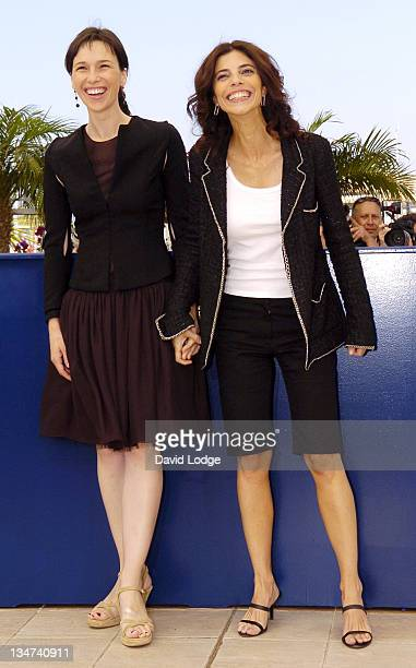 Maribel Verdu and Ariadna Gil during 2006 Cannes Film Festival El Laberinto del Fauno Photocall at Palais des Festival Terrace in Cannes France