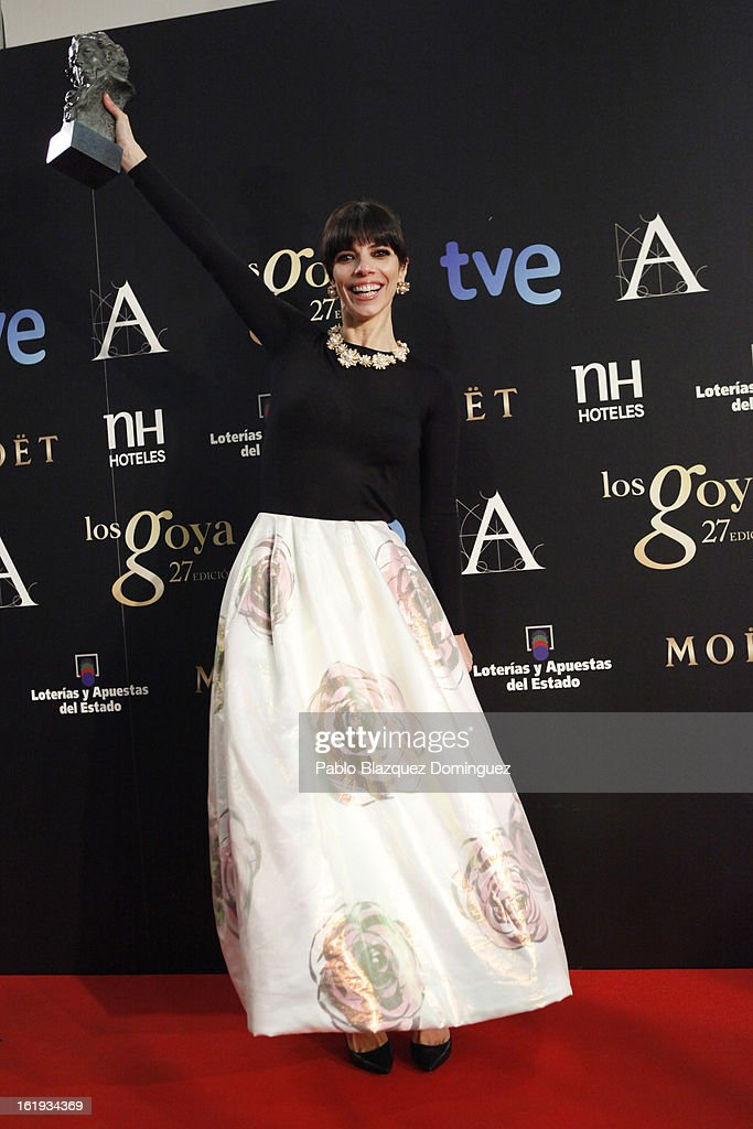 Maribel Verdu holds his award for Best Actress in the film 'Blancanieves' during the 2013 edition of the 'Goya Cinema Awards' ceremony at Centro de Congresos Principe Felipe on February 17, 2013 in Madrid, Spain.