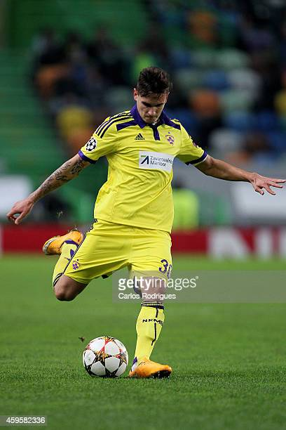 Maribor's midfielder Petar Stojanovic during the UEFA Champions League match between Sporting Clube de Portugal and NK Maribor on November 25 2014 in...