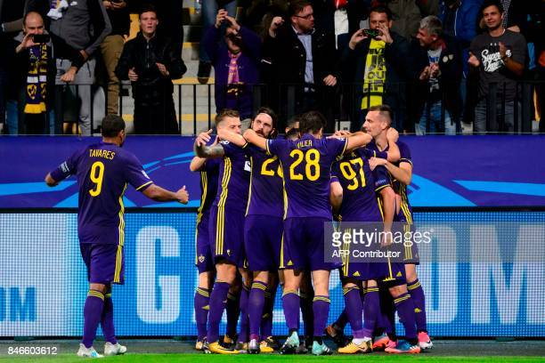 NK Maribor's players celebrate after scoring a goal during the UEFA Champions League Group E football match between NK Maribor and FC Spartak Moscow...