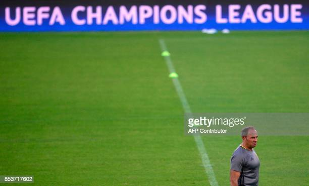 NK Maribor's Slovenian coach Darco Milanic attends a training session at the Sanchez Pizjuan stadium in Sevilla on September 25 2017 on the eve of...