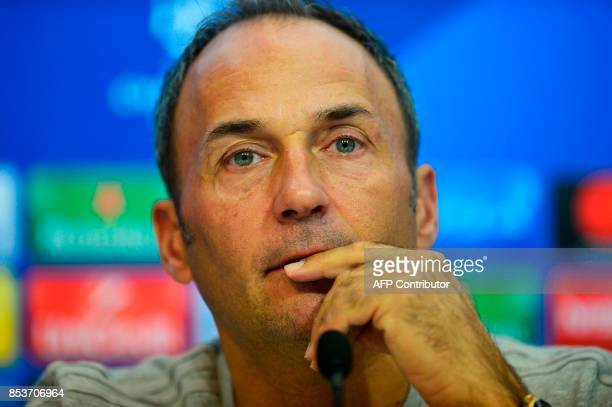 NK Maribor's Slovenian coach Darko Milanic looks on during a press conference at the Sanchez Pizjuan stadium in Sevilla on September 25 2017 on the...