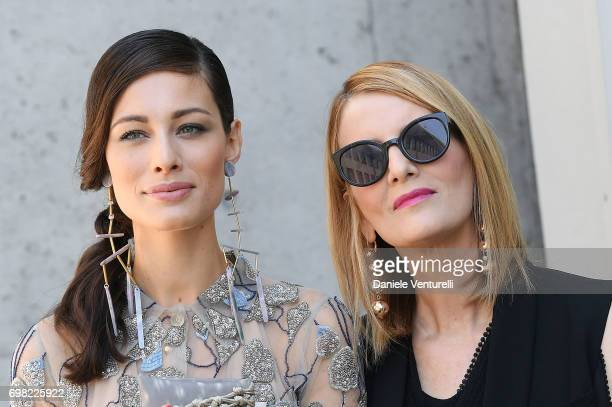 Marica Pellegrinelli and Marvi De Angelis attend the Giorgio Armani show during Milan Men's Fashion Week Spring/Summer 2018 on June 19 2017 in Milan...