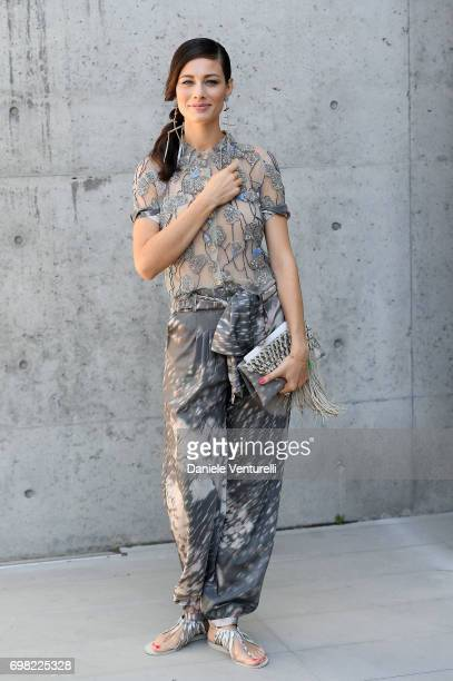 Marica Pellegrinelli attends the Giorgio Armani show during Milan Men's Fashion Week Spring/Summer 2018 on June 19 2017 in Milan Italy