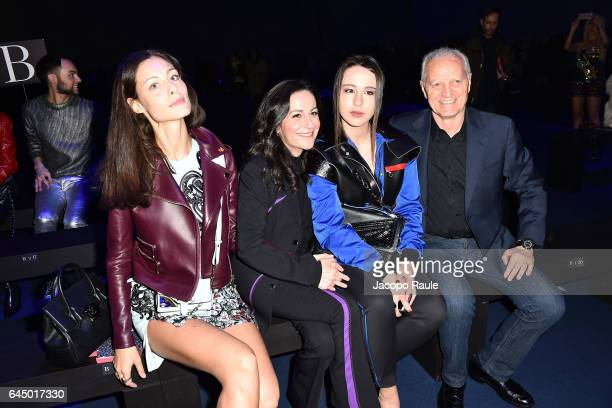 Marica Pellegrinelli guest Aurora Ramazzotti and Santo Versace attend the Versace show during Milan Fashion Week Fall/Winter 2017/18 on February 24...