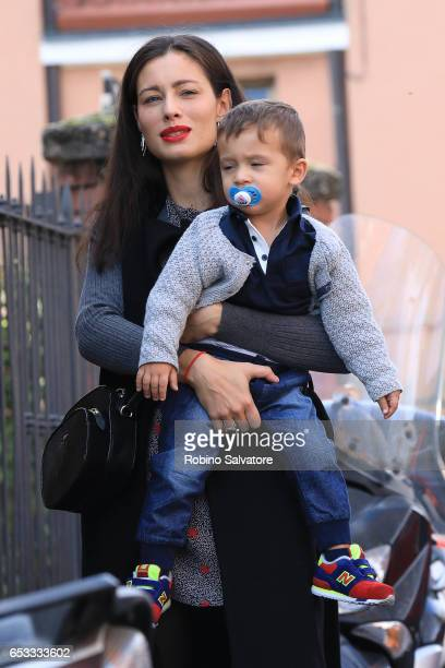 Marica Pellegrinelli with son Gabrio Tullio are seen on March 14 2017 in Milan Italy