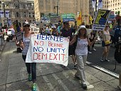 Marie Adams marches in Philadelphia Pennsylvania on July 24 2016 A lifelong Democrat the retired sales representative from Boulder Colorado says she...