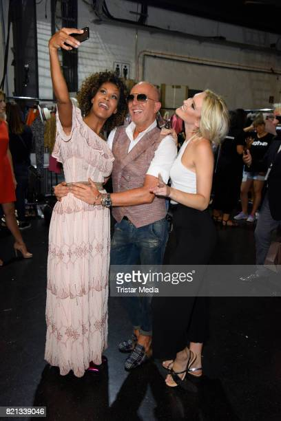 Marie Amiere and Thomas Rath and Kim Hnizdo attend the Thomas Rath show during Platform Fashion July 2017 at Areal Boehler on July 23 2017 in...