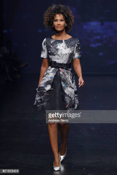 Marie Amiere walks the runway at the Thomas Rath show during Platform Fashion July 2017 at Areal Boehler on July 23 2017 in Duesseldorf Germany