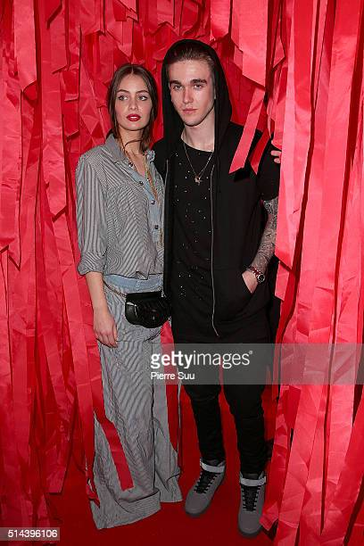 Marie Ange Casta and Gabriel Kane Day Lewis attend the L'Oreal Red Obsession Party Photocall as part of the Paris Fashion Week Womenswear Fall/Winter...