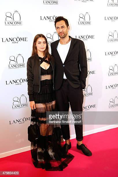 Marie Ange Casta and Olivier Coursier attend the Lancome 80th anniversary party as part of Paris Fashion Week Haute Couture Fall/Winter 2015/2016 on...
