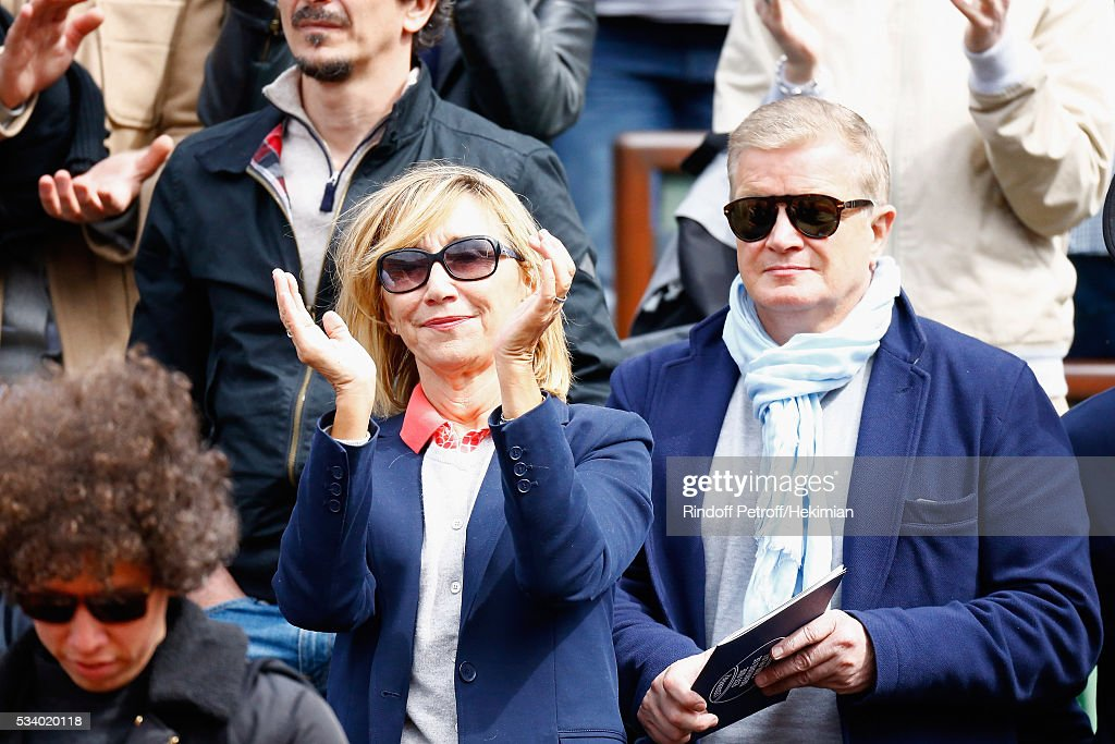 Marie Anne Chazel and Christophe Millant attend the 2016 French Tennis Open - Day Three at Roland Garros on May 24, 2016 in Paris, France.