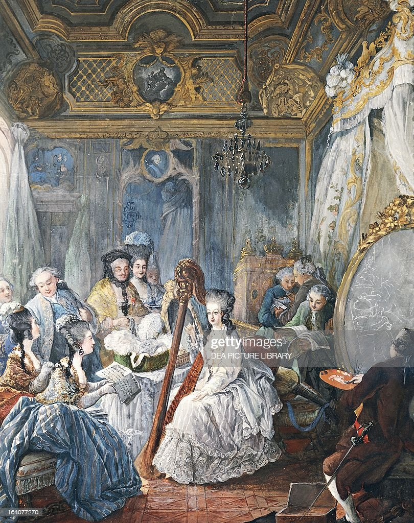 Marie Antoinette in the Queen  39 s bedroom at Versailles  1775  by Jean Baptiste Andre