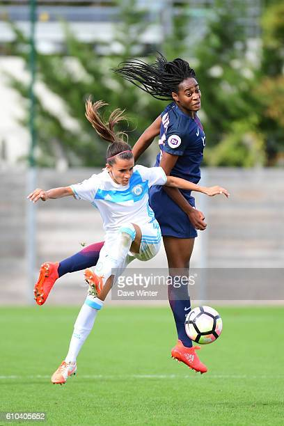 Marie Antoinette Katoto of PSG and Amandine Soulard of Marseille during the women's French D1 league match between PSG and Olympique de Marseille at...