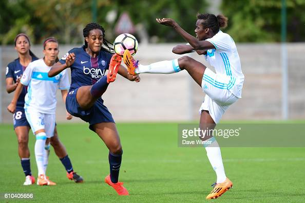 Marie Antoinette Katoto of PSG and Anais MBassidje of Marseille during the women's French D1 league match between PSG and Olympique de Marseille at...