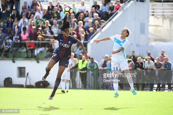 Marie Antoinette Katoto of PSG and Kelly Gadea of Marseille during the women's French D1 league match between PSG and Olympique de Marseille at Camp...