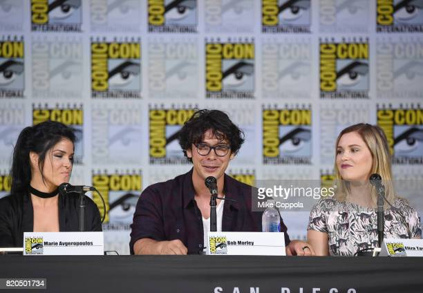 Marie Avgeropoulos Bob Morley and Eliza Taylor speak onstage at ComicCon International 2017 'The 100' panel at San Diego Convention Center on July 21...