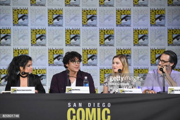 Marie Avgeropoulos Bob Morley Eliza Taylor and Jason Rothenberg speak onstage at ComicCon International 2017 'The 100' panel at San Diego Convention...