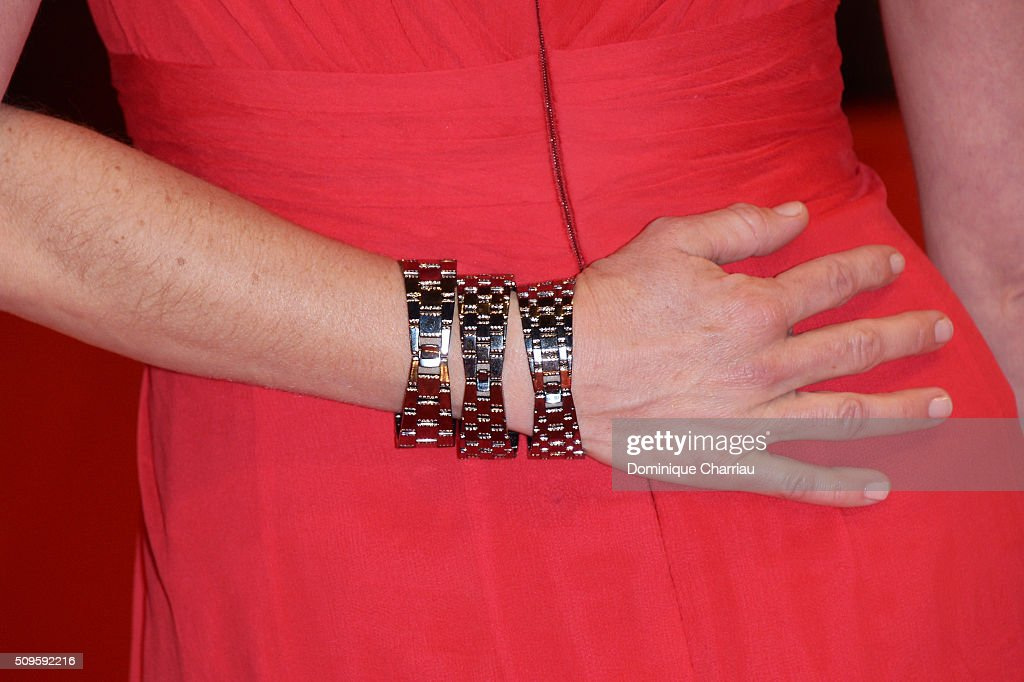 Marie Baeumer, fashion detail, attends the 'Hail, Caesar!' premiere during the 66th Berlinale International Film Festival Berlin at Berlinale Palace on February 11, 2016 in Berlin, Germany.