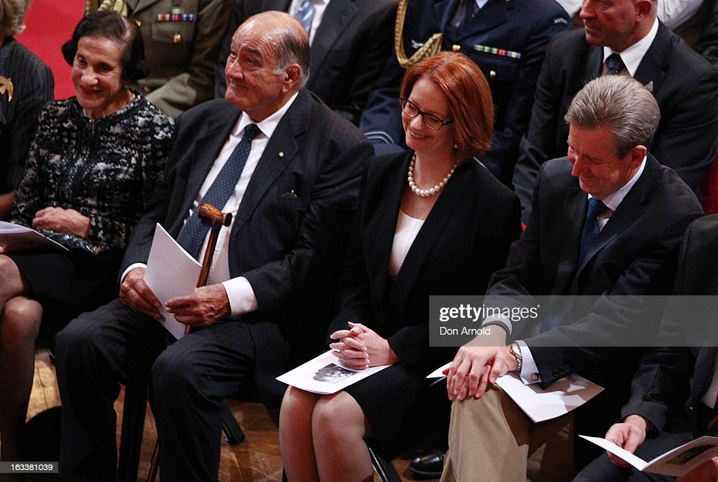 <a gi-track='captionPersonalityLinkClicked' href=/galleries/search?phrase=Marie+Bashir&family=editorial&specificpeople=226887 ng-click='$event.stopPropagation()'>Marie Bashir</a>, <a gi-track='captionPersonalityLinkClicked' href=/galleries/search?phrase=Sir+Nicholas+Shehadie&family=editorial&specificpeople=703948 ng-click='$event.stopPropagation()'>Sir Nicholas Shehadie</a>, <a gi-track='captionPersonalityLinkClicked' href=/galleries/search?phrase=Julia+Gillard&family=editorial&specificpeople=787281 ng-click='$event.stopPropagation()'>Julia Gillard</a> and Barry O'Farrell are seen sharing a laugh during the public memorial for Peter Harvey at Sydney Town Hall on March 9, 2013 in Sydney, Australia. Television journalist Peter Harvey, died in Sydney on March 2 aged 68 after a battle with pancreatic cancer.