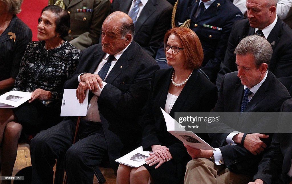 <a gi-track='captionPersonalityLinkClicked' href=/galleries/search?phrase=Marie+Bashir&family=editorial&specificpeople=226887 ng-click='$event.stopPropagation()'>Marie Bashir</a>, <a gi-track='captionPersonalityLinkClicked' href=/galleries/search?phrase=Sir+Nicholas+Shehadie&family=editorial&specificpeople=703948 ng-click='$event.stopPropagation()'>Sir Nicholas Shehadie</a>, <a gi-track='captionPersonalityLinkClicked' href=/galleries/search?phrase=Julia+Gillard&family=editorial&specificpeople=787281 ng-click='$event.stopPropagation()'>Julia Gillard</a> and Barry O'Farrell are seen during the public memorial for Peter Harvey at Sydney Town Hall on March 9, 2013 in Sydney, Australia. Television journalist Peter Harvey, died in Sydney on March 2 aged 68 after a battle with pancreatic cancer.
