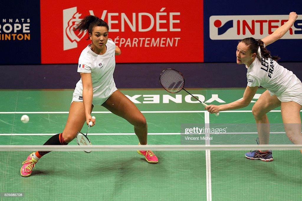 Marie Batomene and Emilie Lefel of France during Women Double match at the 2016 Badminton European Championships on April 28, 2016 in Mouilleron-le-Captif, France.