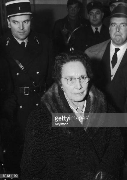 Marie Besnard known as 'The Black Widow of Loudun' arrives for her third trial for the murder of eleven members of her family Bordeaux France 23rd...
