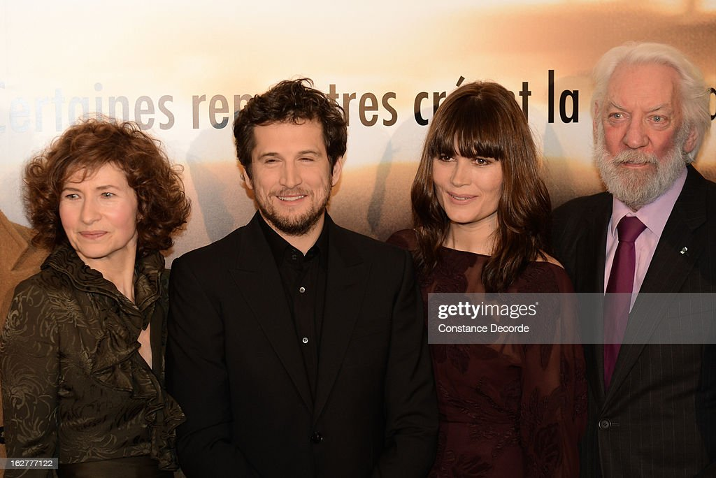 Marie Bunel, <a gi-track='captionPersonalityLinkClicked' href=/galleries/search?phrase=Guillaume+Canet&family=editorial&specificpeople=240267 ng-click='$event.stopPropagation()'>Guillaume Canet</a>, <a gi-track='captionPersonalityLinkClicked' href=/galleries/search?phrase=Marina+Hands&family=editorial&specificpeople=770544 ng-click='$event.stopPropagation()'>Marina Hands</a> and <a gi-track='captionPersonalityLinkClicked' href=/galleries/search?phrase=Donald+Sutherland&family=editorial&specificpeople=216582 ng-click='$event.stopPropagation()'>Donald Sutherland</a> attend the 'Jappeloup' premiere at Le Grand Rex on February 26, 2013 in Paris, France.