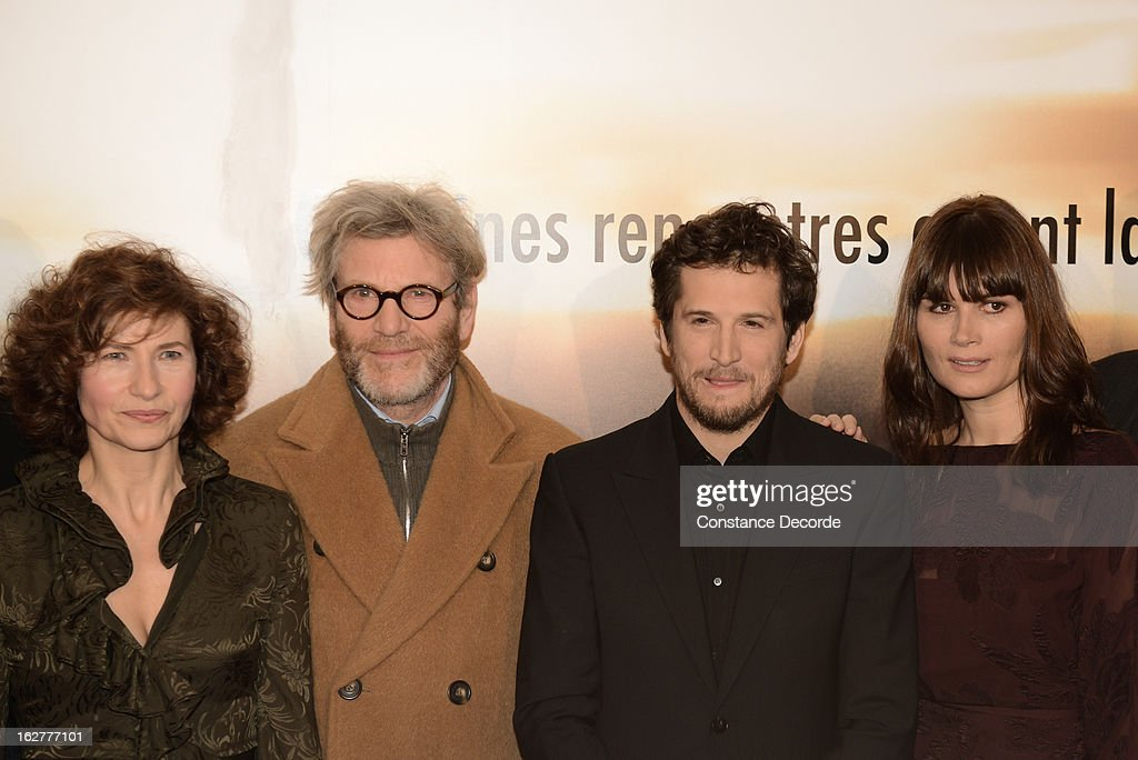 Marie Bunel, Tcheky Karyo, Guillaume Canet and Marina Hands attend the 'Jappeloup' premiere at Le Grand Rex on February 26, 2013 in Paris, France.