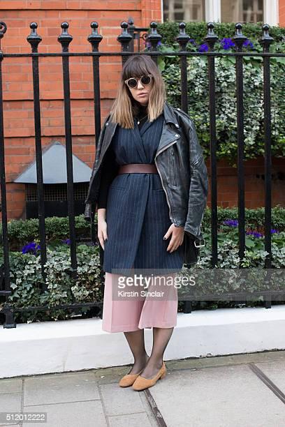 Marie Claire Greece Fashion editor Christina Maria Kravvari wears a vintage Saint Laurent jacket And Other Stories sleeveless jacket Zara culottes H...