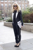 Marie Claire USA Editor Zanna Roberts Rassi wearing Alexandra Berman shoes Prada clutch French Connection trousers Julien Macdonald jacket White and...