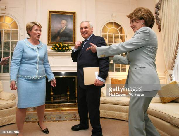 Marie Collins wife of Irish ambassador Michael Collins Taoiseach Bertie Ahern and Congress House Speaker Nancy Pelosi at the Irish ambassador's...