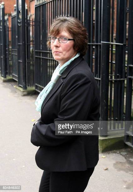 Marie Conway partner of Kelvin Adams leaves the coroners court in Belfast after an inquest into his death which occured while he was paragliding and...