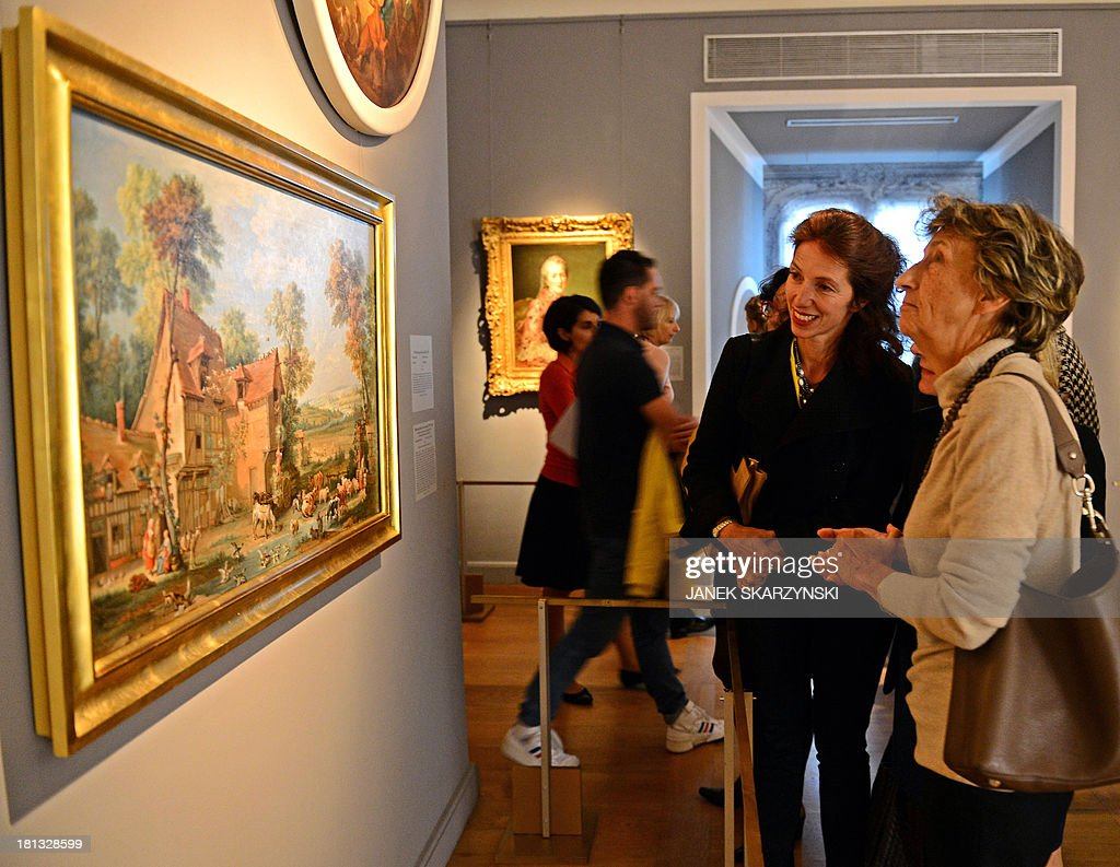 Marie Cristine Labourdette, (L) Director of the Museums of France and Beatrix Saule, Director of the National Museum of Versailles and Trianon attend the opening of an exhibition on Polish princess Marie Leszczynska, who was married to King Louis XV of France during the 18th century, at Warsaw's Royal Castle on September 20, 2013. AFP PHOTO/JANEK SKARZYNSKI