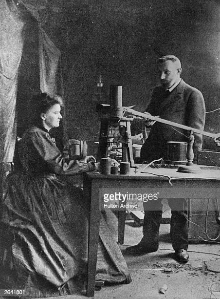 Marie Curie Polish born French physicist in her laboratory with husband Pierre eminent French chemist
