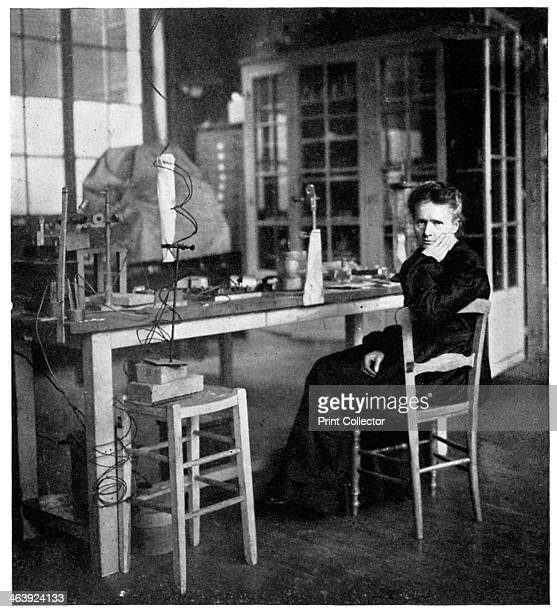 Marie Curie Polishborn French physicist c1920 Curie double Nobel Prize winner seated in her laboratory