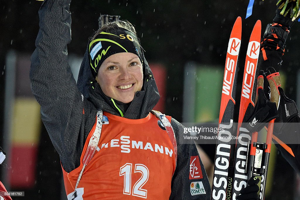<a gi-track='captionPersonalityLinkClicked' href=/galleries/search?phrase=Marie+Dorin+Habert&family=editorial&specificpeople=8689694 ng-click='$event.stopPropagation()'>Marie Dorin Habert</a> of France competes during the IBU Biathlon World Cup Men's and Women's Pursuit on January 9, 2016 in Ruhpolding, Germany.