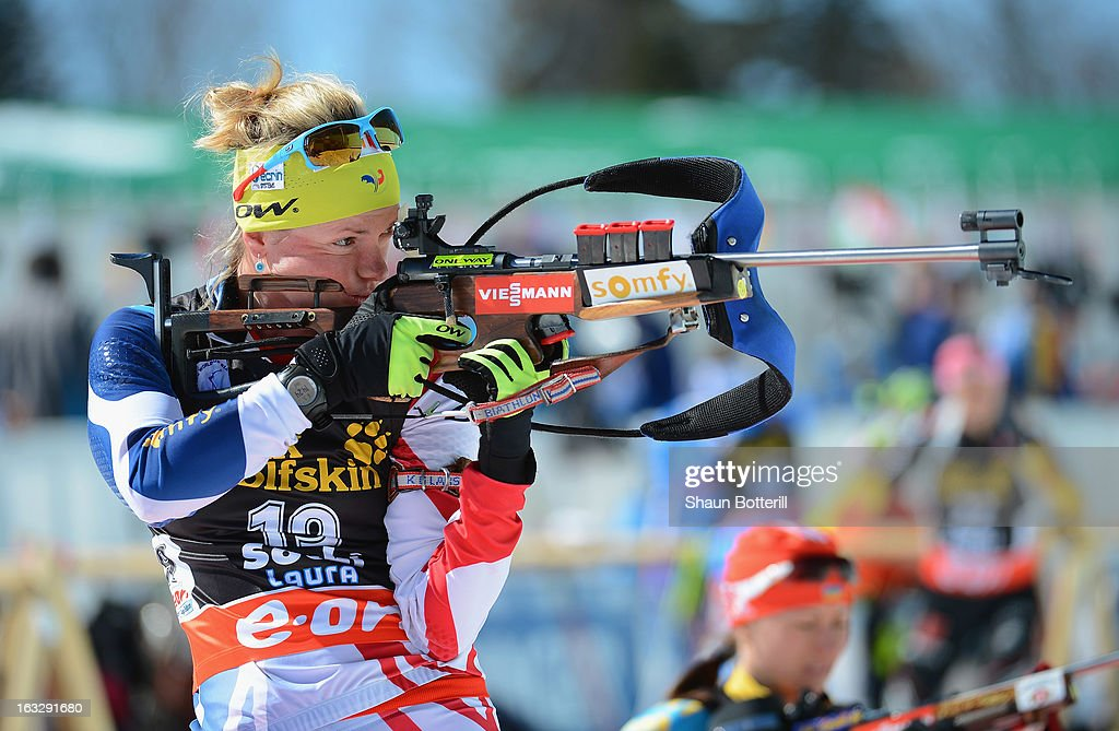 Marie Dorin Habert of France during Zeroing before the Women's 15km Individual Event during the E. ON IBU Biathlon World Cup at the 'Laura' Biathlon & Ski Complex on March 7, 2013 in Sochi, Russia.