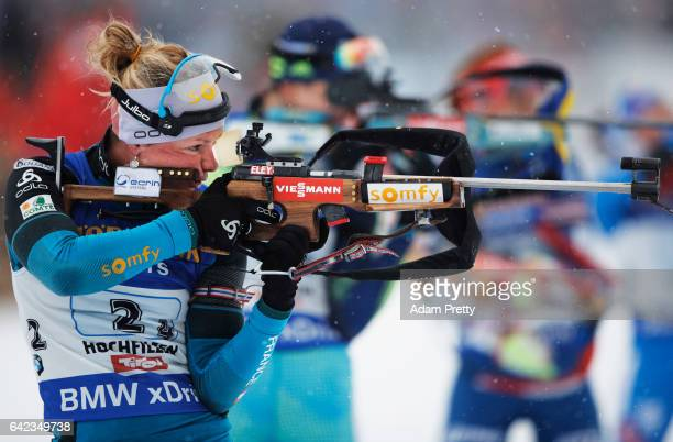 Marie Dorin Habert of France shoots on her way to winning the Bronze medal in the Women's 4x 6km relay competition of the IBU World Championships...