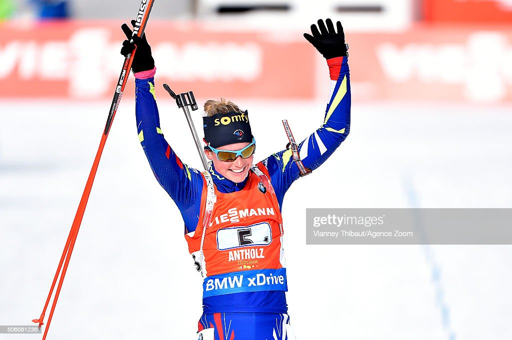 <a gi-track='captionPersonalityLinkClicked' href=/galleries/search?phrase=Marie+Dorin+Habert&family=editorial&specificpeople=8689694 ng-click='$event.stopPropagation()'>Marie Dorin Habert</a> of France takes 1st place during the IBU Biathlon World Cup Men's and Women's Relay on January 24, 2016 in Antholz-Anterselva, Italy.