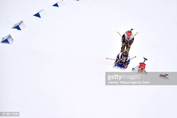 Marie Dorin Habert of France wins the gold medal Tiril Eckhoff of Norway wins the silver medal during the IBU Biathlon World Championships Mixed...