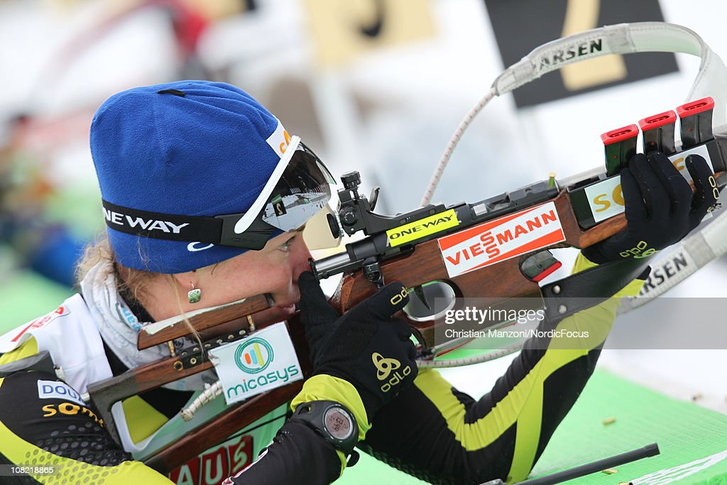 Marie Dorin of France competes in the women's sprint during the E.ON IBU Biathlon World Cup on January 21, 2011 in Antholz-Anterselva, Italy.
