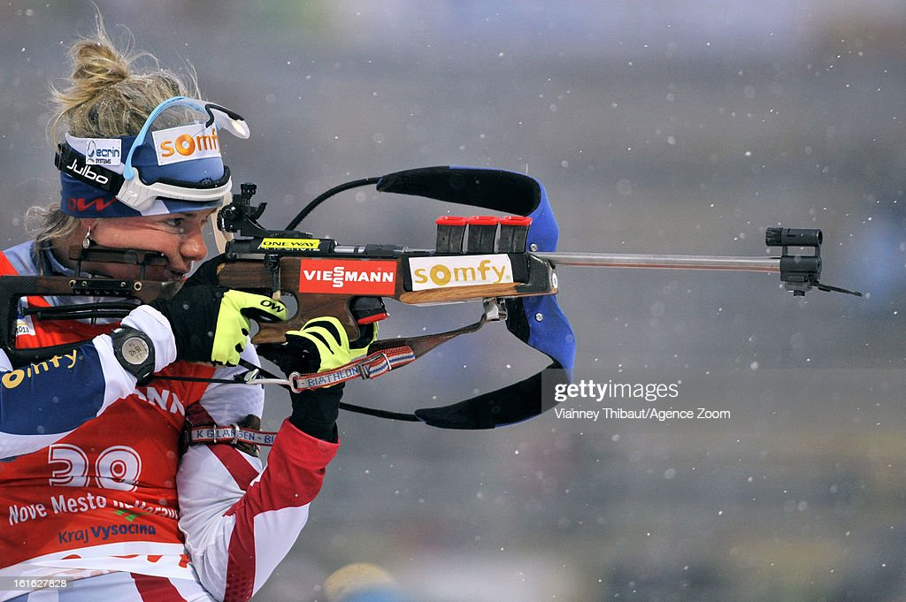 Marie Dorin-Habert of France competes during the IBU Biathlon World Championship Women's 15km Individual on February 13, 2013 in Nove Mesto, Czech Republic.